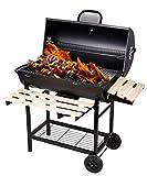 SunJas Barbecue à Charbon BBQ de Bois Barbecue de Jardin avec 2 Etagères en Bois, Dimensions ont 101×70.5×94.5CM, Noir