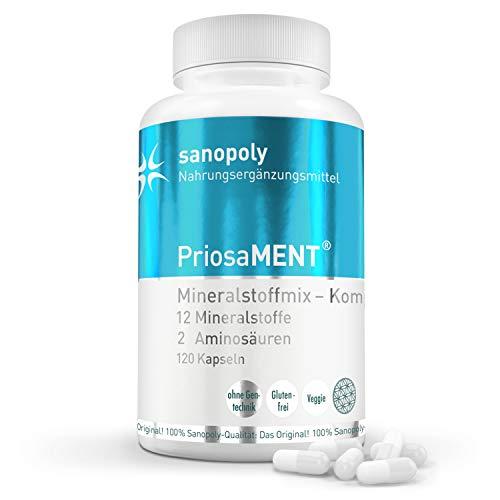 SANOPOLY PriosaMENT die Vollständige Mineralstoffmischung I Aufbau & Erhalt des menschlichen Organismus, der Knochen & des Energiestoffwechsels I Reguliert Blutdruck & Blutzuckerspiegel I 120 Kapseln -