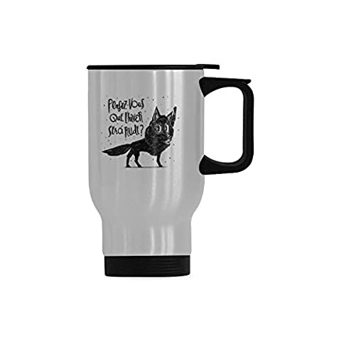 Vacuum Insulated Stainless Steel Canis Lupus Travel Mug(Tasses à café), 14-Ounce (sliver)