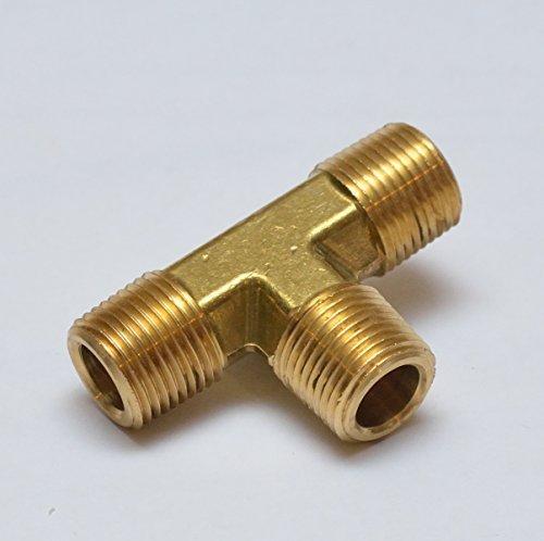 FasParts T 3-seitiges Rohr-Außen-T-Schnittstück, Messing, 3/8 NPT männlich/MPT / MIP T 3-Wege-Messing-Armatur Kraftstoff/Luft/Wasser/Boot/Gas/Öl WOG von FASPARTS