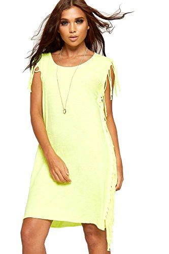 WEARALL Damen Geöffnet Zurück Ripped Bekümmert Tassle Kleid Damen Neu Lang Ärmellos Top - 36-42 Fluoreszierend Gelb
