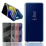 BOSHANDA Coque Samsung Galaxy Note 9 Etui Housse Support à Rabat Clear View Cover Flip Case Miroir Antichoc Téléphone Portable Galaxy Note 9 Bleu