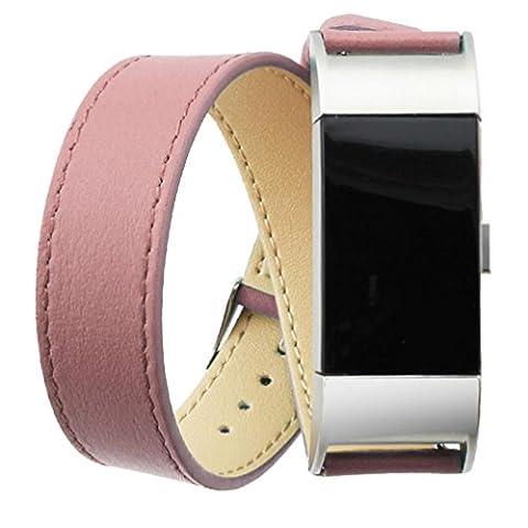Ihee logiciel de luxe réglable Cuir véritable Bracelet double tour Bracelet Bracelet pour Fitbit Charge 2 M rose