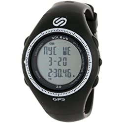 Soleus SG002-004 Men's GPS 2.0 Runners Speed White Accent Bezel Chronograph Black Rubber Strap Digital Grey Dial Watch