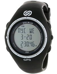 Soleus SG002-004 Men's GPS 2.0 Runners Speed White Accent Bezel Chronograph Black Rubber Strap Digital Grey Dial Watch