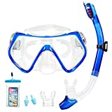 Supertrip Snorkel Set-Snorkeling Mask Diving Goggles Mask Dry Snorkel Set with 2 Mouthpieces