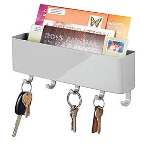 mDesign Schlüsselbrett mit Ablage aus Kunststoff - moderne Briefablage mit Schlüsselboard - praktisches Schlüsselbrett für den Eingangsbereich oder die Küche - grau