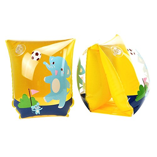 Cute Animal modello gonfiabile Swim maniche Roll-up Armband anelli acqua galleggianti braccioli da nuoto per bambini neonati, Yellow Elephant