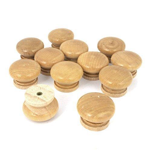 sourcingmap® Ricambio Pentola Colore Di Legno Forma Rotonda Maniglia legno Pomelli Dei Cassetti 12Pcs