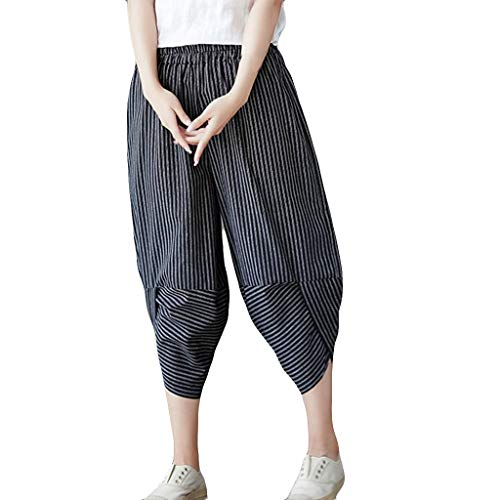 WOZOW Harem Pants Damen Capri Vertical Streifen Gestreift Strip Hippie Bettwäsche Baumwolle Loose Casual Slit Cuff High Waist Tapered Crop Trousers (L,Marine)