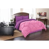 Elegance Suave como la Seda – Ganso Abajo Alternativa Reversible 3 Comforter Set, Full/
