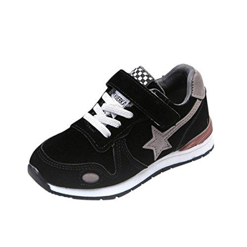 FNKDOR Baby Kinder Laufschuhe Jungen Mädchen Mesh Schuhe Turnschuhe Sneaker (23, Schwarz) (Schuhe Vans Kinder Größe Jungen 1)