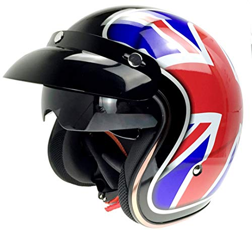 MT&CHEYTN Casco de Motocicleta Estilo Cobre con Sol Viosr Moto Harley Cacapete Old School Moto Retro Casque UK Color L
