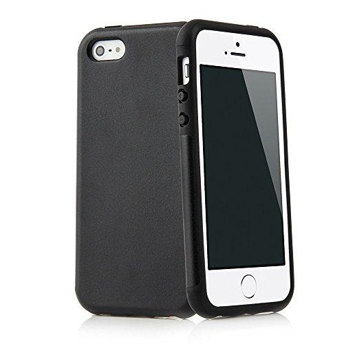 QUADOCTA Hülle kompatibel mit iPhone SE / 5s / 5 - Thin Fit Hülle aus Kunstleder Tasche Schutzhülle Bumper mit Soft Feel Coating in schwarz - 5 Iphone Bumper Schwarz Case