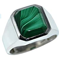 Avant Gems Heren kinderen mannen 925 Sterling Silver sterling zilver octagon in Rectangular form Malachiet
