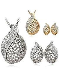 ELECTROPRIME Fashion Lover Rhinestone Hollow Leaf Pendant Necklace Earrings Jewelry Set