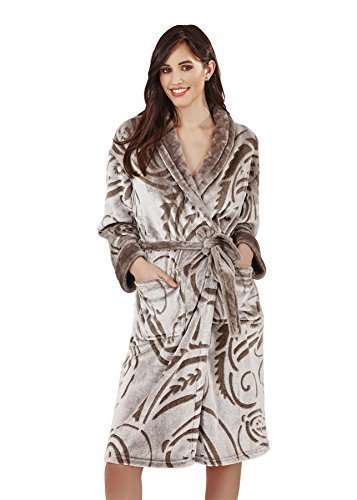 Loungeable Boutique Donna Luxury in pile Super morbido accappatoio Paisley Classic L