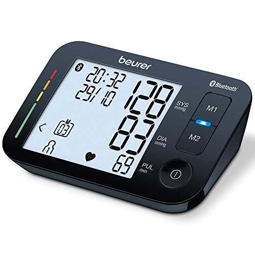 Oberarm-Blutdruckmessgerät BM 54 Beurer | digitaler Blutdruckmesser mit XL-Display, schwarz | Bluetooth®  & großes Display | Arrhythmie-Erkennung | große Manschette für Oberarmumfänge 22 - 44 cm