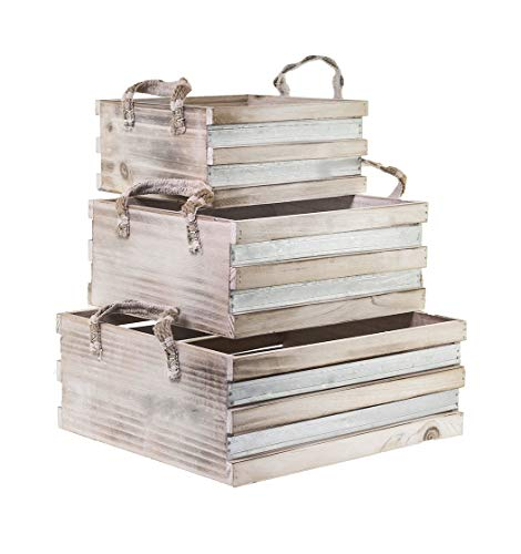 BlueBD 3 Set Vintage Handarbeit, Dekokisten Holzkiste Regal Sammler Setzkasten Dekoration Box, Shabby-Chic, Landhaus Stil, Cottage Style II -