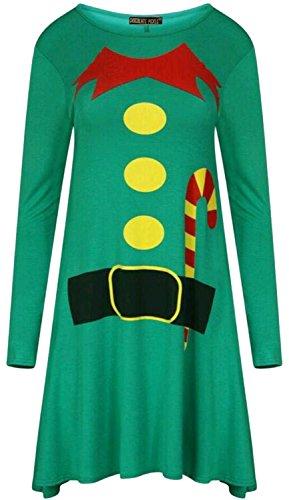 Neu Frauen Weihnachten Elfe Drucken Flared Skater Schaukel Kostüm Kleid Green (Candy Kostüme Cane)