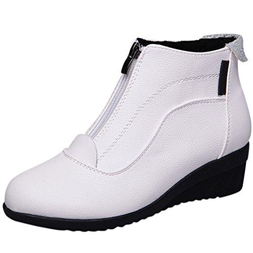 Oasap Femme Mode Chaussure Couleur Pure Zippé Talons Bloc white