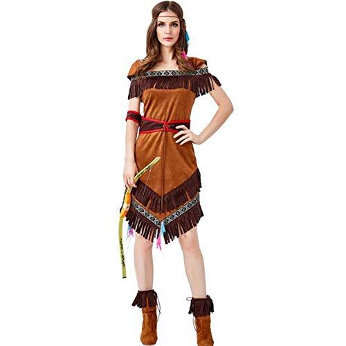 Archer Erwachsenen Für Kostüm - QWE Halloween Kostüm Aboriginal Archer Kostüm Flat Shoulder Printed Tassel Dress