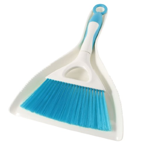 sourcingmap® Floor Sawdust Sweep Mini Dustpan Brush Set Beige Teal Blue