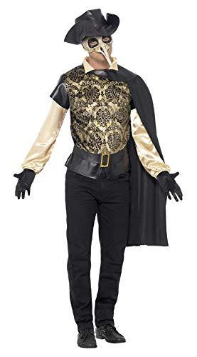 Kostüm Doktor Pest Venezianische - Smiffys, Herren Pest-Doktor Kostüm, Top, Umhang, Handschuhe und Lederhut Attrappe, Größe: L, 43742