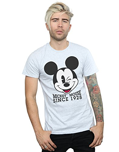 Disney Homme Mickey Mouse Since 1928 T-Shirt Large Sport Gris