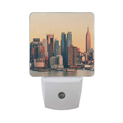Nachtlicht New York City Sunset, 2Pack Light UK-Stecker 0,5W Sensor Automatik Open Close Persönlichen Innen für Kids Baby Kinder Kinder Erwachsene Schlafzimmer Flur Geschenk Dekoration Nachtlicht
