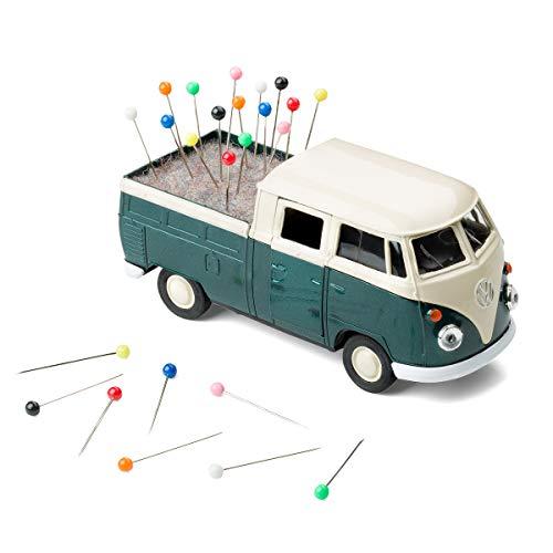 corpus delicti :: Rollendes Nadelkissen VW Bus Bulli T1 Transporter Pritschenwagen mit Filzeinlage inkl. Stecknadeln – Nähmobil (grün)