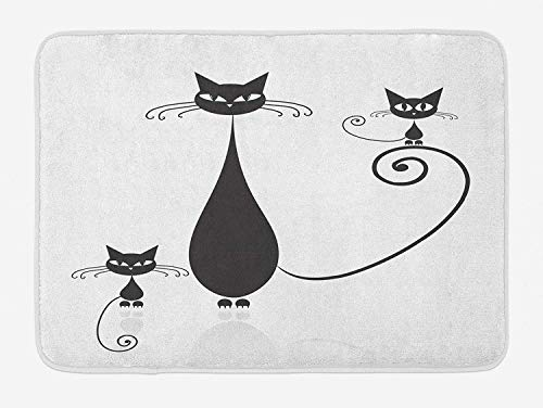 (VTXWL Cat Lover Bath Mat, Mom and Kids Children Halloween Theme Paw Animals Simplistic Illustration, Plush Bathroom Decor Mat with Non Slip Backing, 23.6 W X 15.7 W Inches, Black and White)