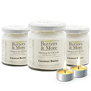 Butters & More Vegan All Natural Coconut Butter (Pack of 3x200G) Unsweetened Single Ingredient Nut Butter. with a Surprise Diwali Gift!