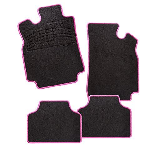 CarFashion 242942 Auto Fussmatten Set ohne Mattenhalter Calypso-Textil, Rosa, 4-teilig