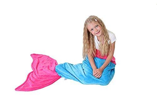 Meerjungfrauenschwanz Decke - Super Weich & Warm polares Vliesgewebe Decke von Cuddly Blankets - Perfektes Geschenk für Kinder und Jugendliche (3-12 Jahre) (Meerblau & Dunkel Rosa)