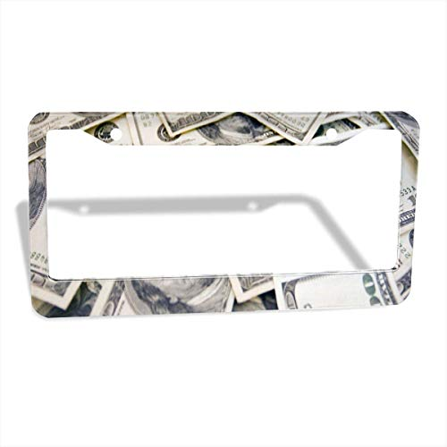 FunnyCustom License Plate Frame Money Dollar Personalized Aluminum License Plate Set Metal Tag Holder 12 x 6 Inch 2 Packs