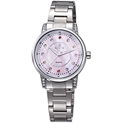 MLOVE Waterproof Pink Face Rhinestone Three-Hand Stainless Steel Women's Watch