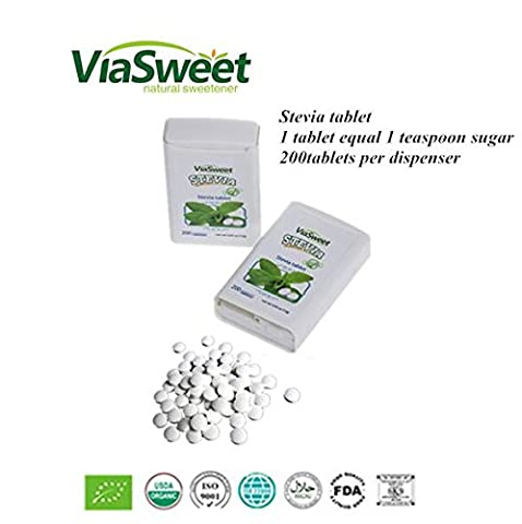 Pack of 200 NON BITTER STEVIA TABLETS by VIA SWEET STEVIA, THE SUGAR ALTERNATIVE/REPLACEMENT