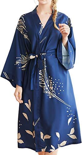 Chaos World Damen Morgenmantel Seide Satin Kimono Lange Robe Bademantel mit Federn und Blätter(Blau,Large) (Damen Silk Robe)