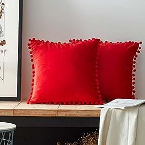 Topfinel Federe Cuscini Quadrati Morbido di Velluto con Palline a Sfera in Tinta Unita Decorativi Cuscino Divano Letto Camera 2 Pezzi,45x45cm Rosso