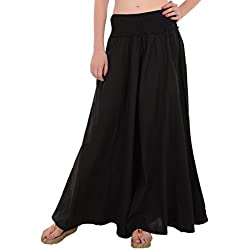 Skirts & Scarves Women's Cotton Palazzo (PA-782_Black)