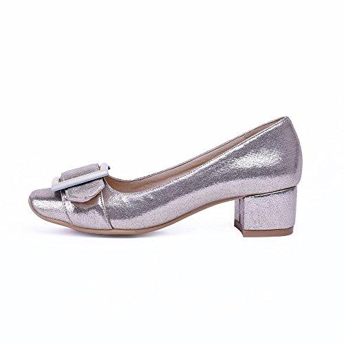 VogueZone009 Femme Tire à Talon Correct Pu Cuir Couleur Unie Carré Chaussures Légeres Doré