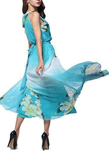 Brinny Damen Maxikleid Strandkleid Sommerkleid Floral gefaltete Kleid Plus Size Festliches Übergröße mit Gürtel Blau
