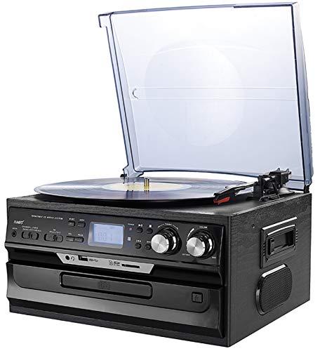 Retro Musikanlage Nostalgie Design Stereoanlanlage Kompaktanlage Musik Center Aufnahmefunktion Plattenspieler CD/MP3 USB/SD Radio FM/AM LCD-Display Kassettenspieler (Schwarz)