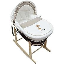 Hermoso bebé Moses cesta con balancín Natural soporte jirafa cuadros oscuro mimbre