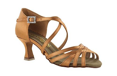 Dancin Scarpa da Ballo 5 Fasce in Raso Flesh con Incrocio sulla Caviglia, Tacco 5,5 cm Flesh