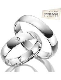 2 x Trauringe 925 Silber PAARPREIS inkl. Swarovski Crystal und Gravur AG.13