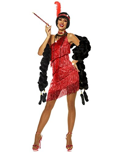 GODDESSEY RED DAZZLING FLAPPER COSTUME LARGE