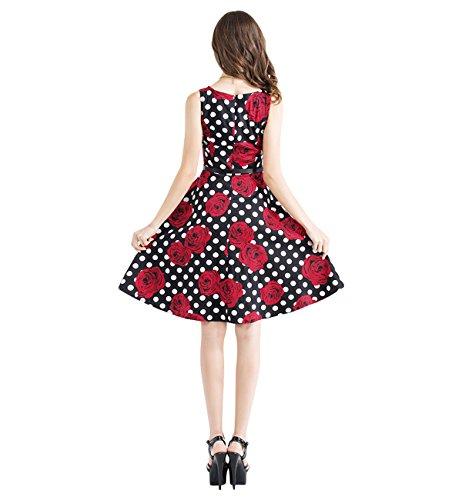 Surenow Damen Sommer Ärmellos Knielang A Linie Elegant Vintage Kleid Rote  Blumen 3fdf439a3e
