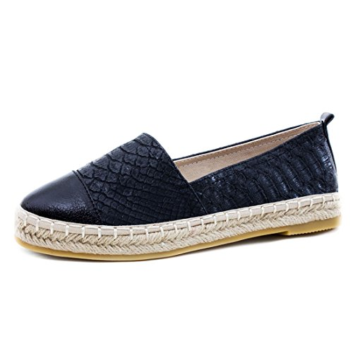 Damen Espadrilles Low Top Sommer Slipper Sneaker Metallic Lederoptik Y-Schwarz Metallic Qe7QjETV